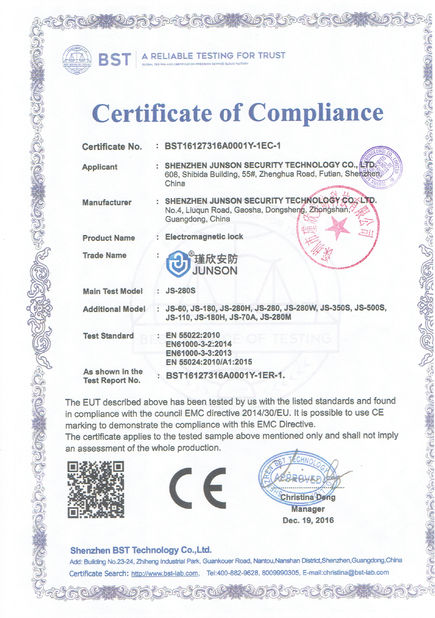 Çin Shen Zhen Junson Security Technology Co. Ltd Sertifikalar